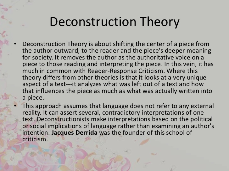 "deconstructing deconstruction essay Deconstructing deconstruction - the term ""deconstruction"" was first employed in the philosophical sense by jacques derrida in his 1967 book of grammatology as such, the concept and movement of deconstruction was founded solely by derrida, without much influence from contemporary sources."